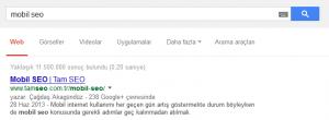 """Google'da """"Mobil SEO"""" Araması"""
