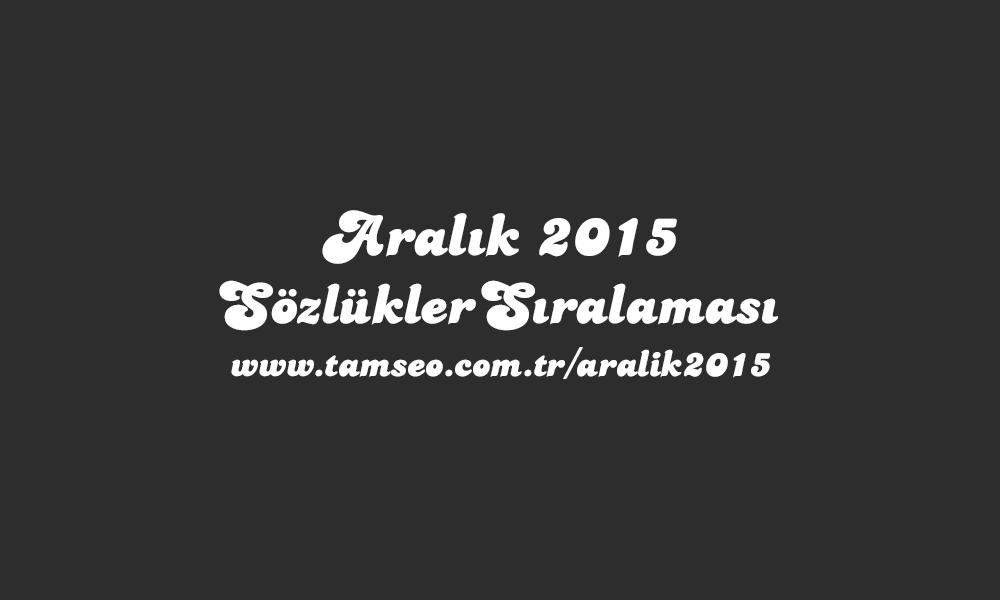 İnteraktif Sözlükler Aralık 2015 Sıralaması