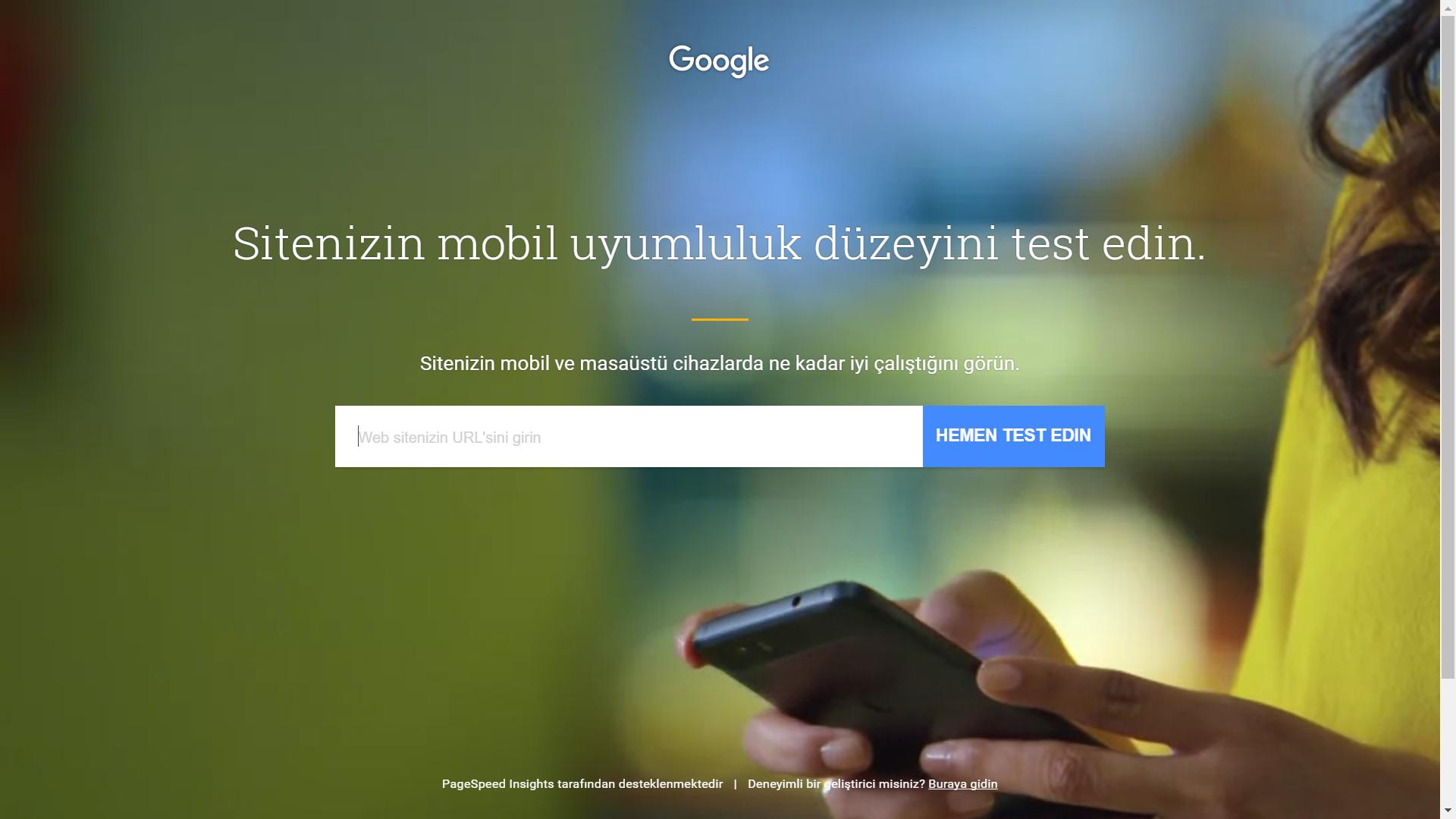 Google Mobil Web Sitesi Hız Testi Aracı